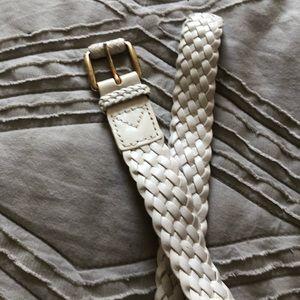 Michael Kors white braided leather belt